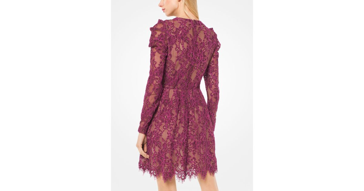 Lyst - Michael Kors Scalloped Corded Floral Lace Dress