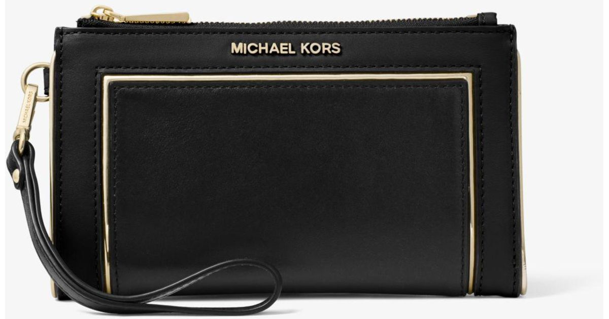 189785ebeaed28 Michael Kors Adele Framed Leather Smartphone Wallet in Black - Lyst