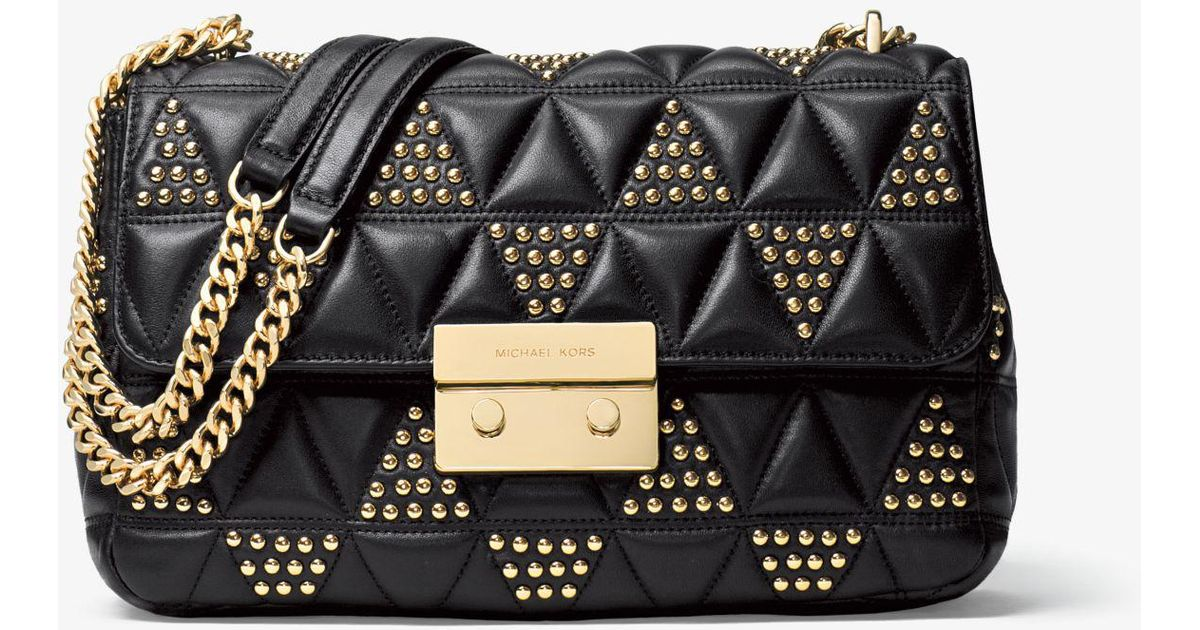 54c258ee74 ... coupon lyst michael kors sloan large studded leather shoulder bag in  black 64e25 3138c