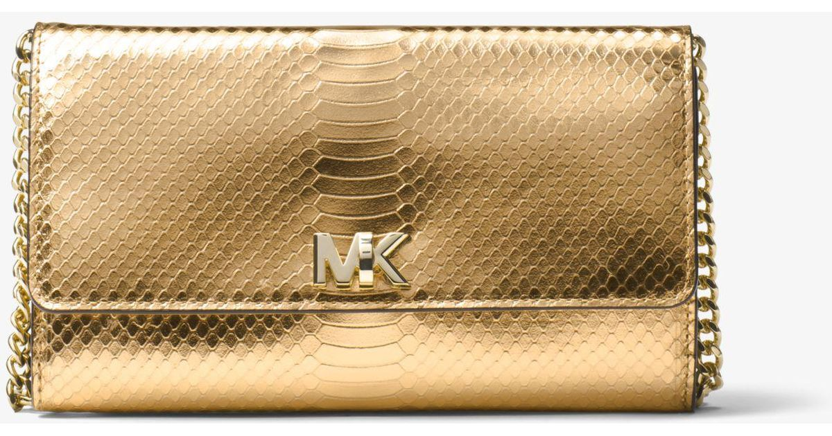291f1db8a259 Lyst - Michael Kors Mott Metallic Embossed-leather Clutch in Metallic
