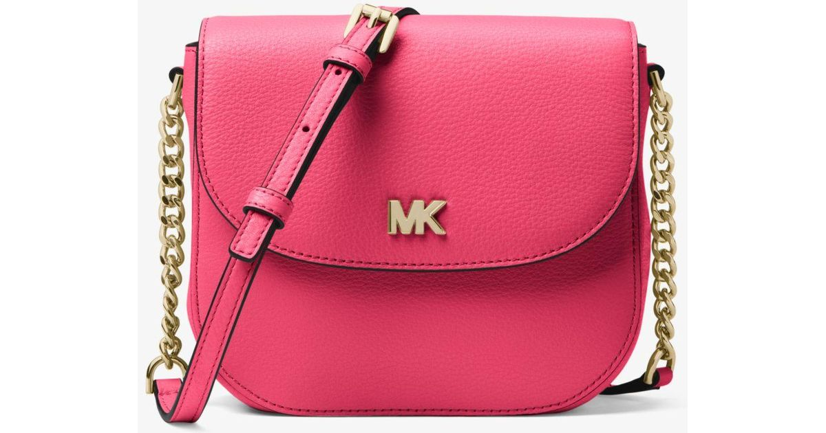 9e1634def2e3 Michael Kors Mott Pebbled Leather Dome Crossbody Bag in Pink - Lyst