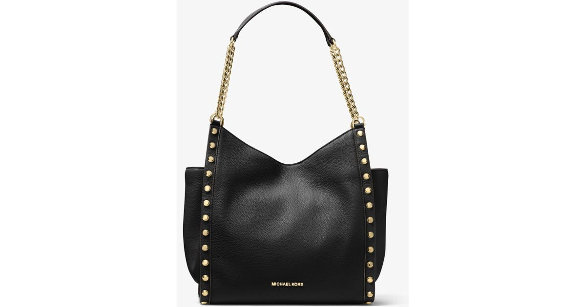 3b6291bb8e96 Michael Kors Newbury Studded Leather Chain Tote Bag in Black - Lyst