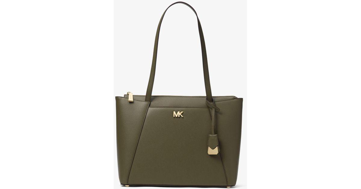e835f660cc89 Lyst - Michael Kors Maddie Medium Crossgrain Leather Tote Bag in Green