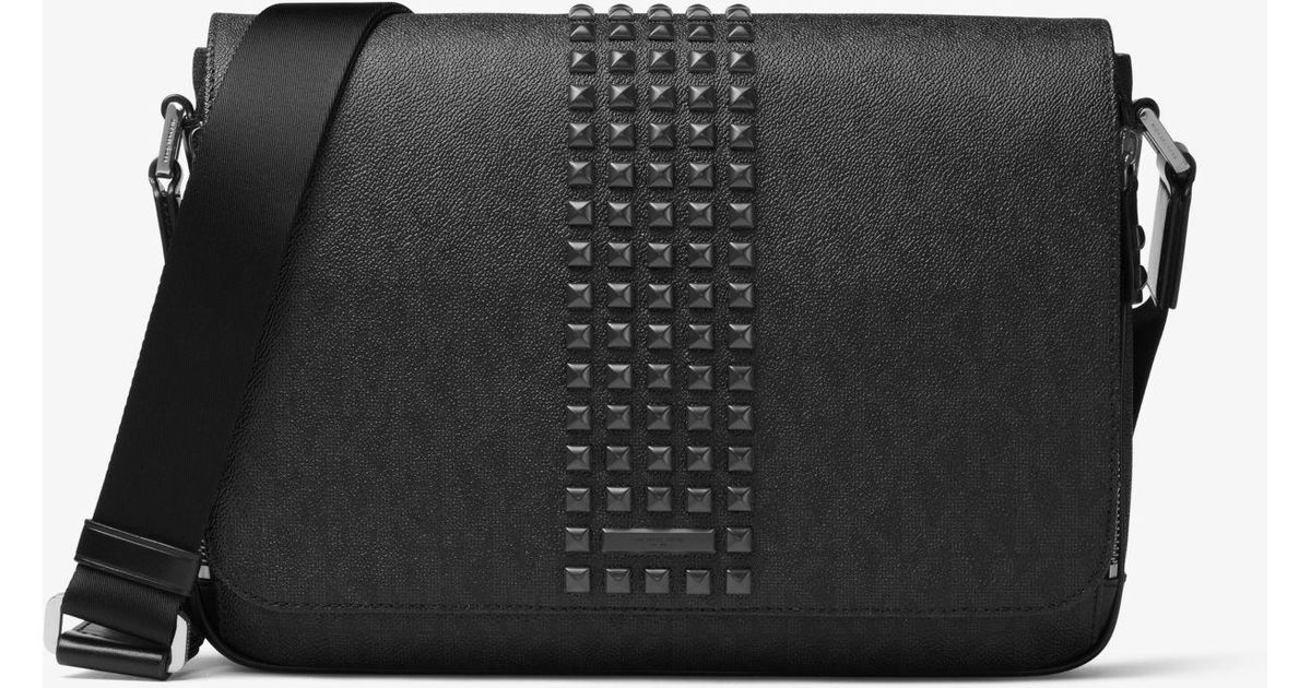 1863aa83c06c Lyst - Michael Kors Jet Set Studded Medium Logo Messenger in Black for Men