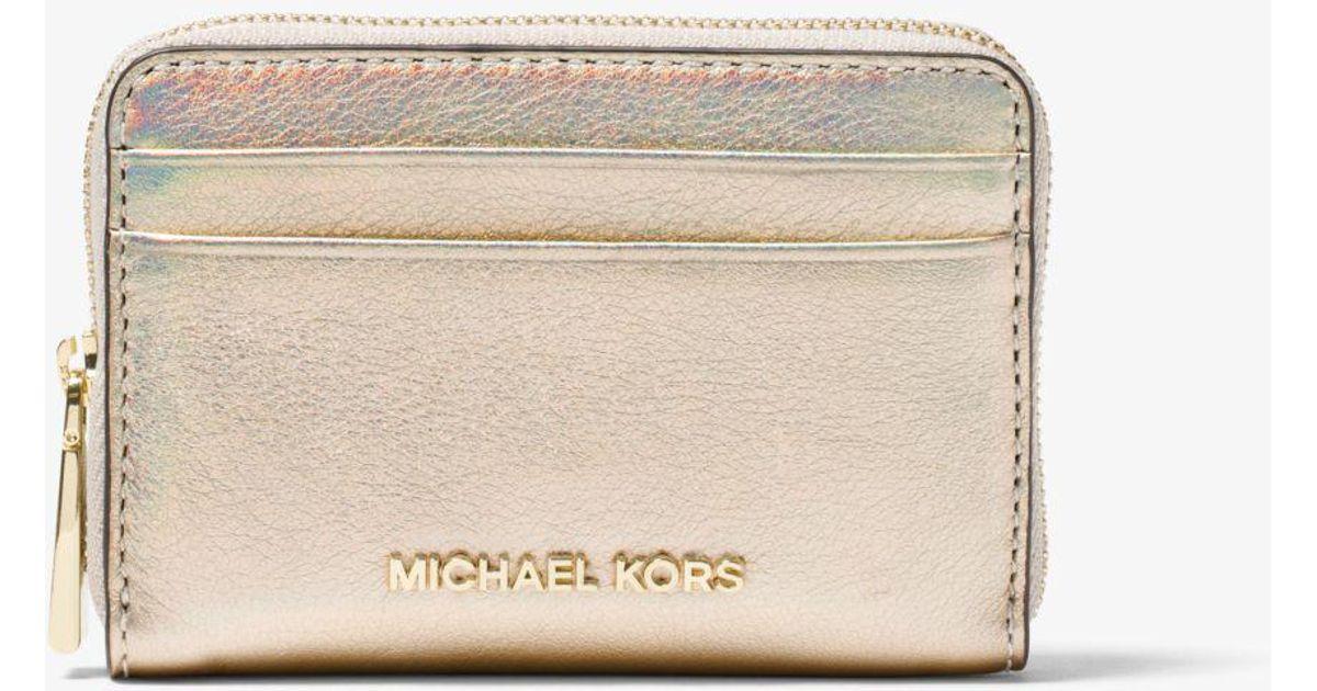 5dfa2822679e Michael Kors Jet Set Iridescent Leather Wallet - Lyst