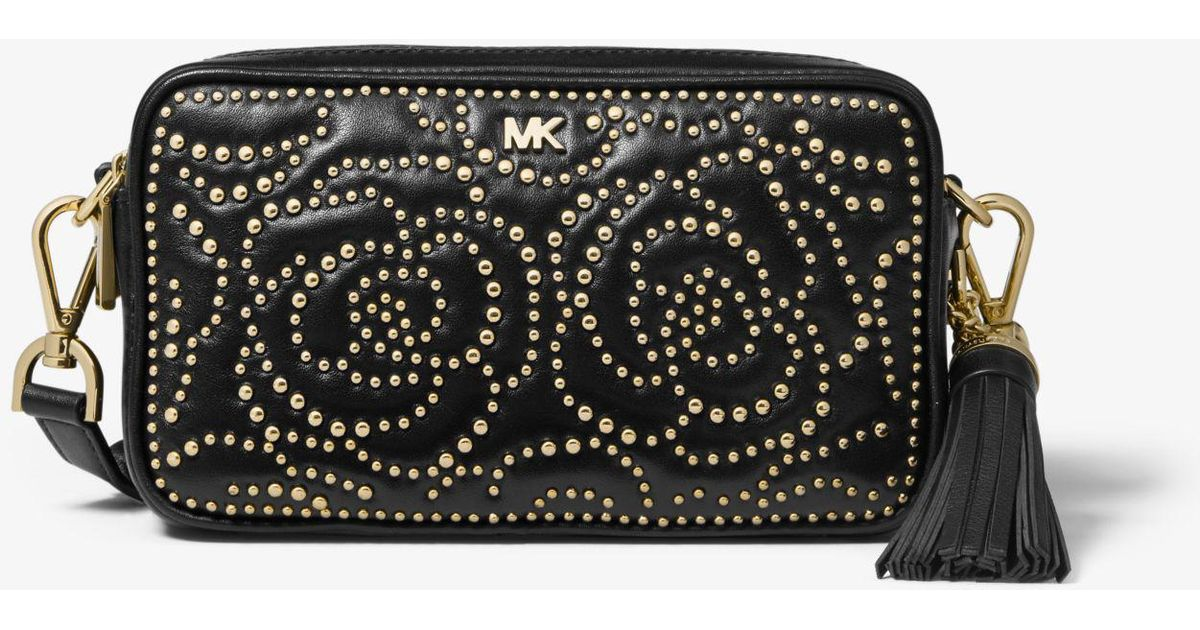 92e394593 Michael Kors Small Rose Studded Leather Camera Bag in Black - Lyst