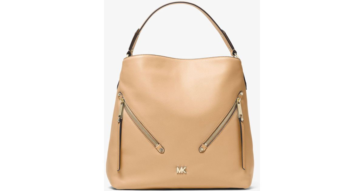 d61bc625135a Lyst - Michael Kors Evie Large Pebbled Leather Shoulder Bag