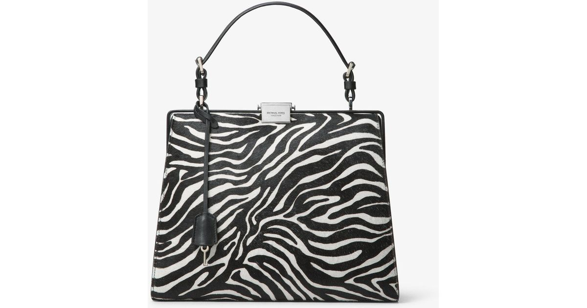 47ee0970607e97 Michael Kors Simone Zebra Calf Hair Top-handle Bag in Black - Lyst