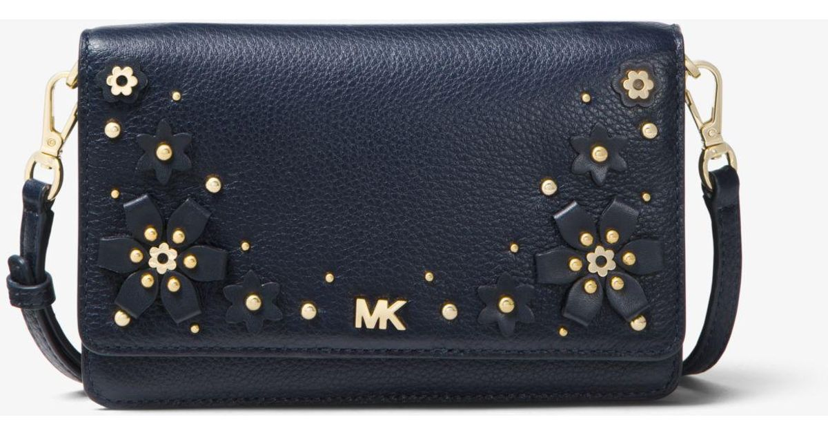 789f5aa2bc4d ... promo code lyst michael kors floral embellished pebbled leather  convertible crossbody in blue 267f8 f7b59 ...