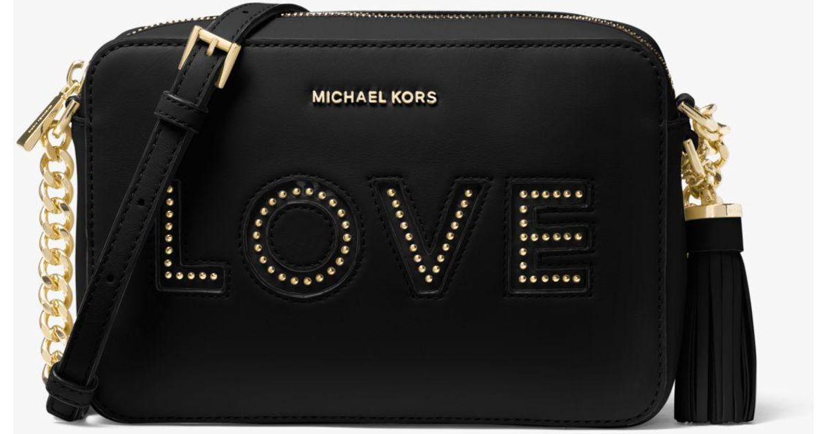 36d561ba1c888 Lyst - Michael Kors Ginny Love Leather Crossbody in Black