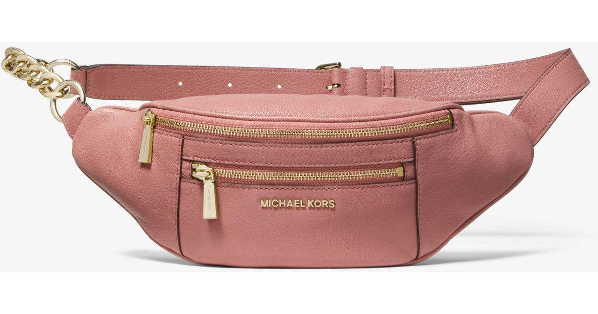 da1d2a34602969 Michael Kors Medium Leather Belt Bag in Pink - Save 1% - Lyst