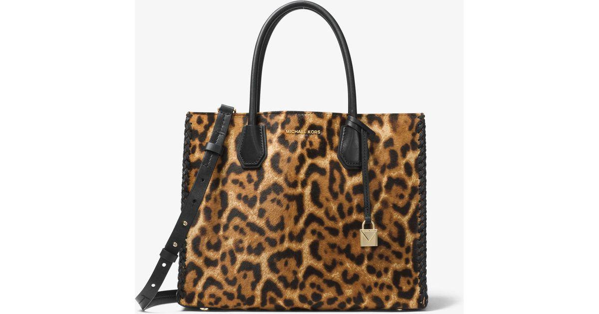 Top Lyst - Michael Kors Mercer Leopard Calf Hair Tote in Brown BS36