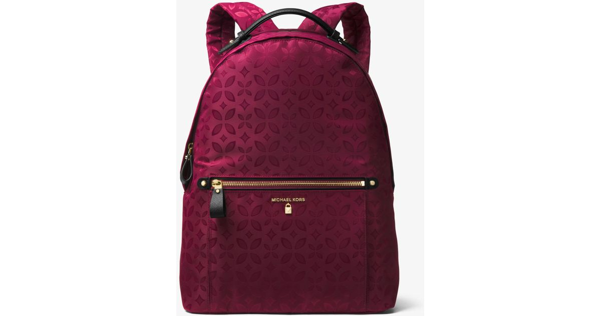 3b4ef307ab18 Lyst - Michael Kors Kelsey Large Floral Nylon Backpack in Purple