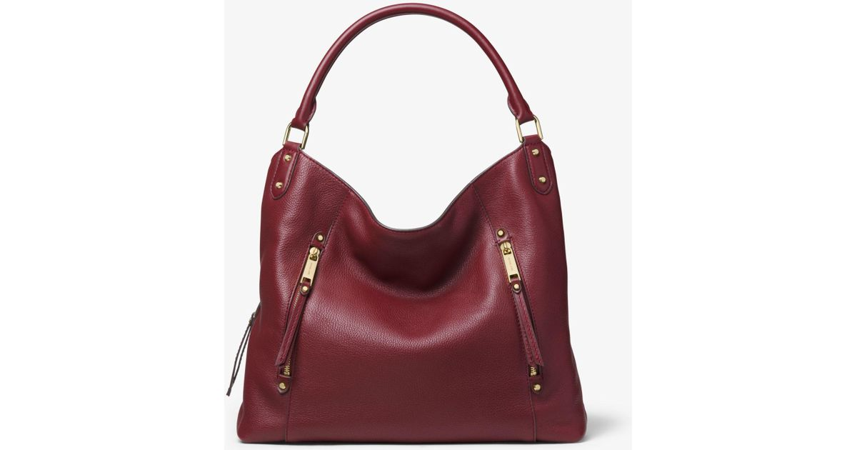 60345469aa9fac Michael Kors Evie Large Pebbled Leather Shoulder Bag in Red - Lyst