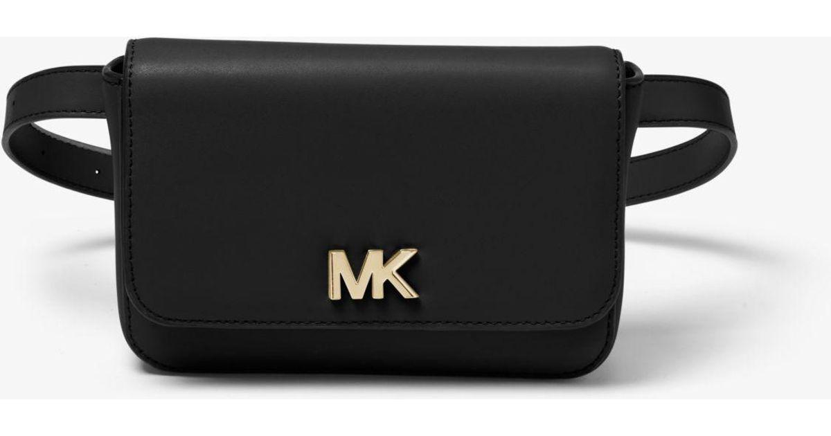 ac9edd47bd93 Lyst - Michael Kors Mott Leather Belt Bag in Black