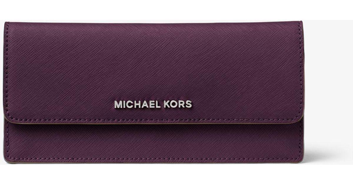63cca61f8c20 Michael Kors Travel Slim Saffiano Leather Wallet in Purple - Lyst