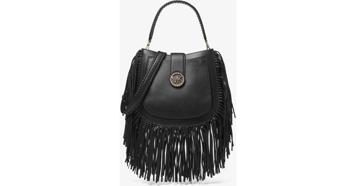 c3bb245c4fb6 Michael Kors Lillie Medium Fringed Leather Shoulder Bag in Black - Lyst