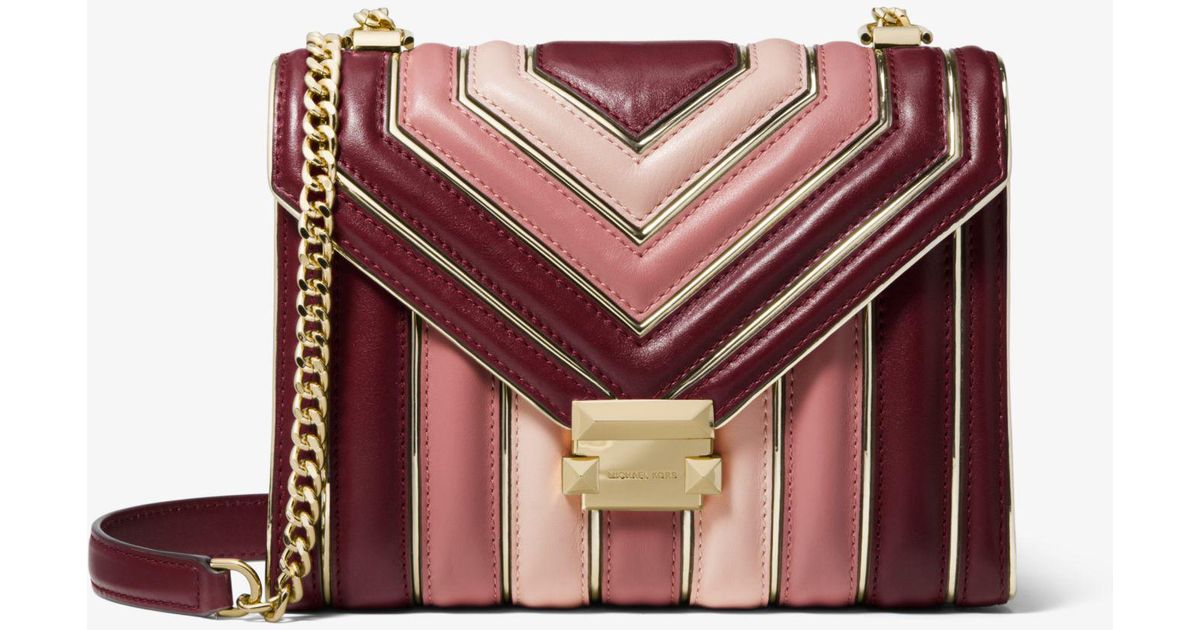 6b15da7651b7 Lyst - Michael Kors Whitney Large Quilted Tri-color Leather Convertible Shoulder  Bag
