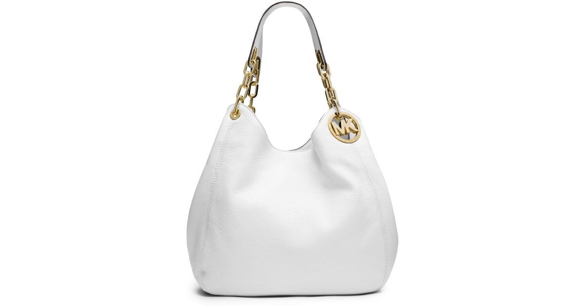 59e413d3841a Lyst - Michael Kors Fulton Large Leather Shoulder Bag in White