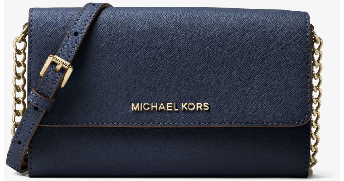 f8225953f6330 Lyst - Michael Kors Jet Set Travel Saffiano Leather Smartphone Crossbody in  Blue