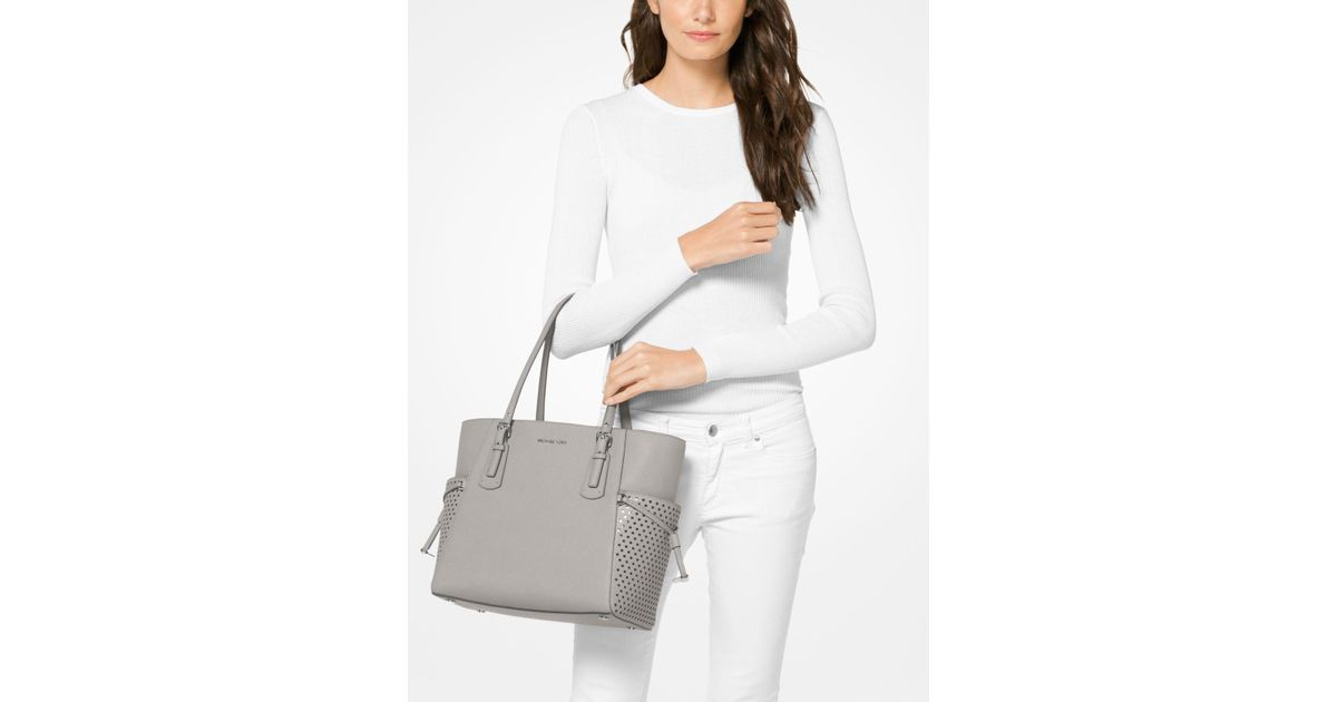 8950973cecb5 Lyst - Michael Kors Voyager Small Saffiano Leather Tote in Gray