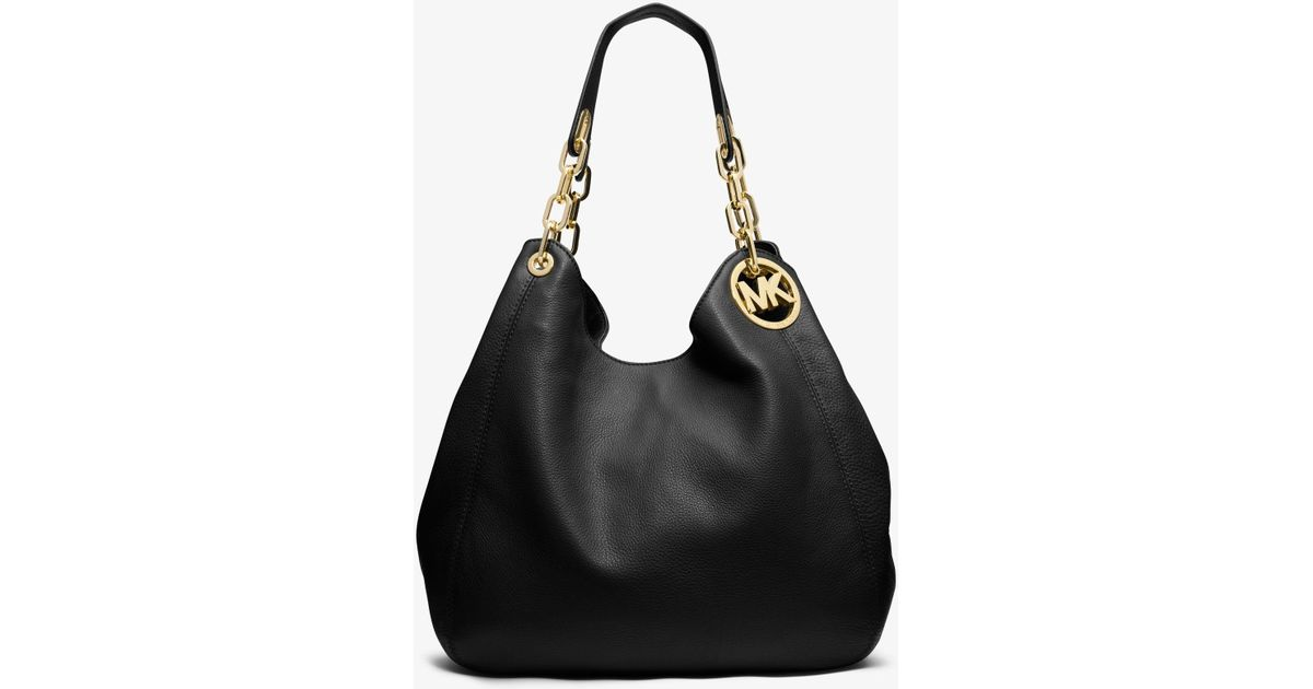 e82c495c44a9 Lyst - Michael Kors Fulton Large Leather Shoulder Bag in Black