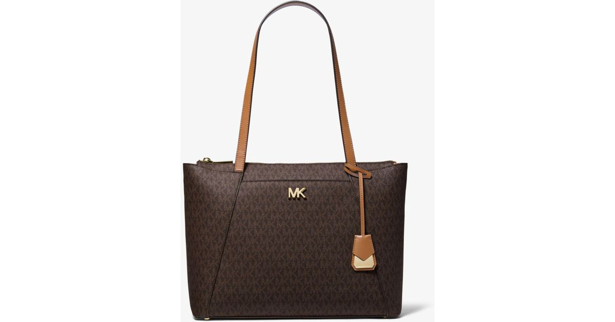 06acfd6088da Michael Kors Maddie Medium Logo Tote in Brown - Lyst