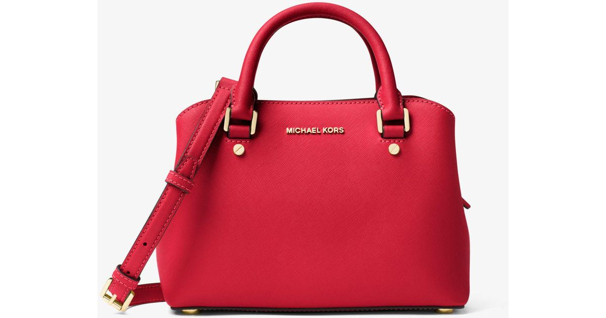 8f6ea4de95e642 ... free shipping michael kors savannah small saffiano leather satchel in red  lyst 688b3 30515
