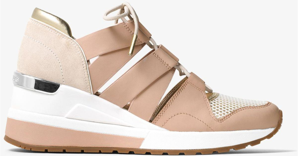 Lyst - Michael Kors Beckett Leather And Mesh Trainer a3fb0ebc0