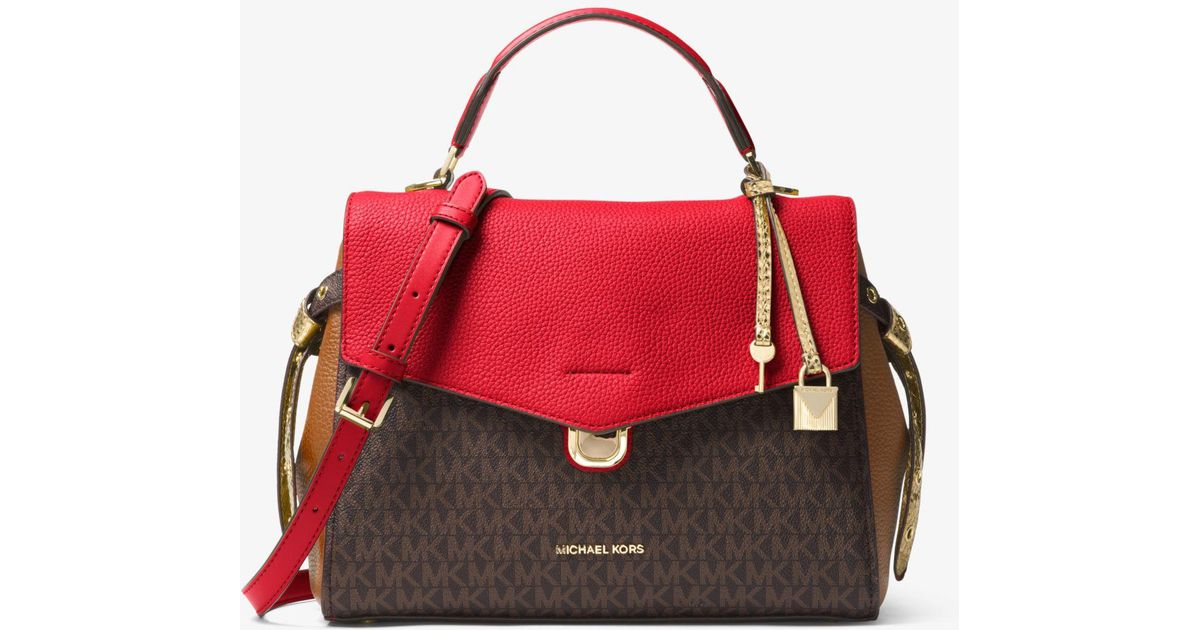 c931454b235f40 ... coupon for michael kors bristol medium logo satchel lyst 101af d24cd
