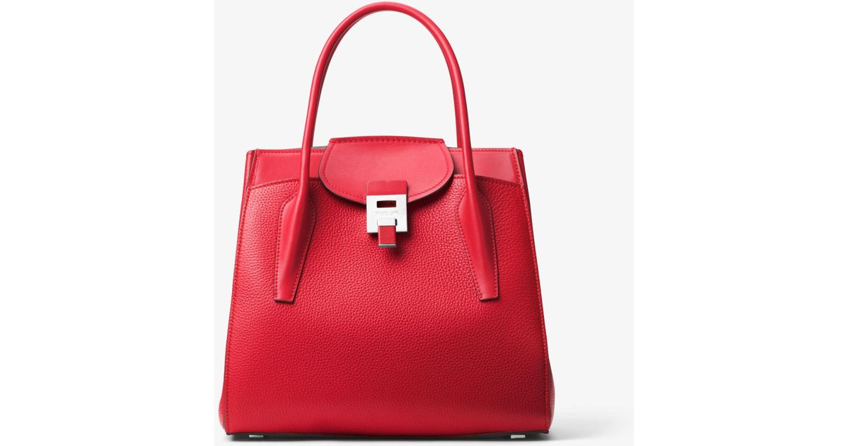 cb0ab1c0ad6e Michael Kors Bancroft Large Pebbled Calf Leather Satchel in Red - Lyst