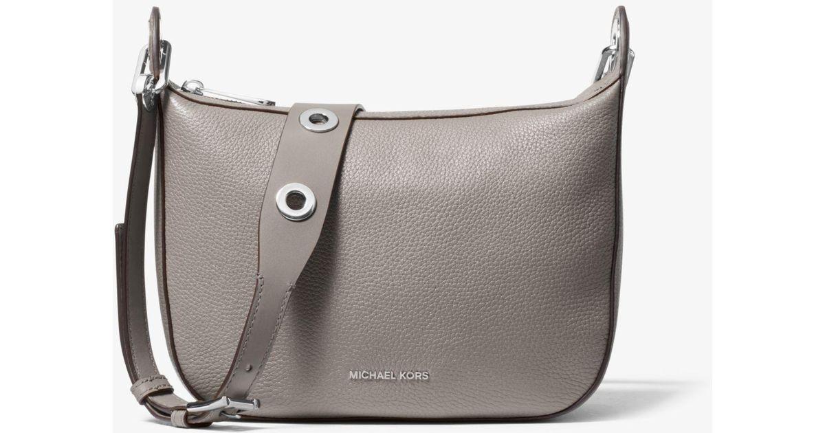 b06eb1394d11 Lyst - Michael Kors Barlow Medium Pebbled Leather Messenger Bag in Gray