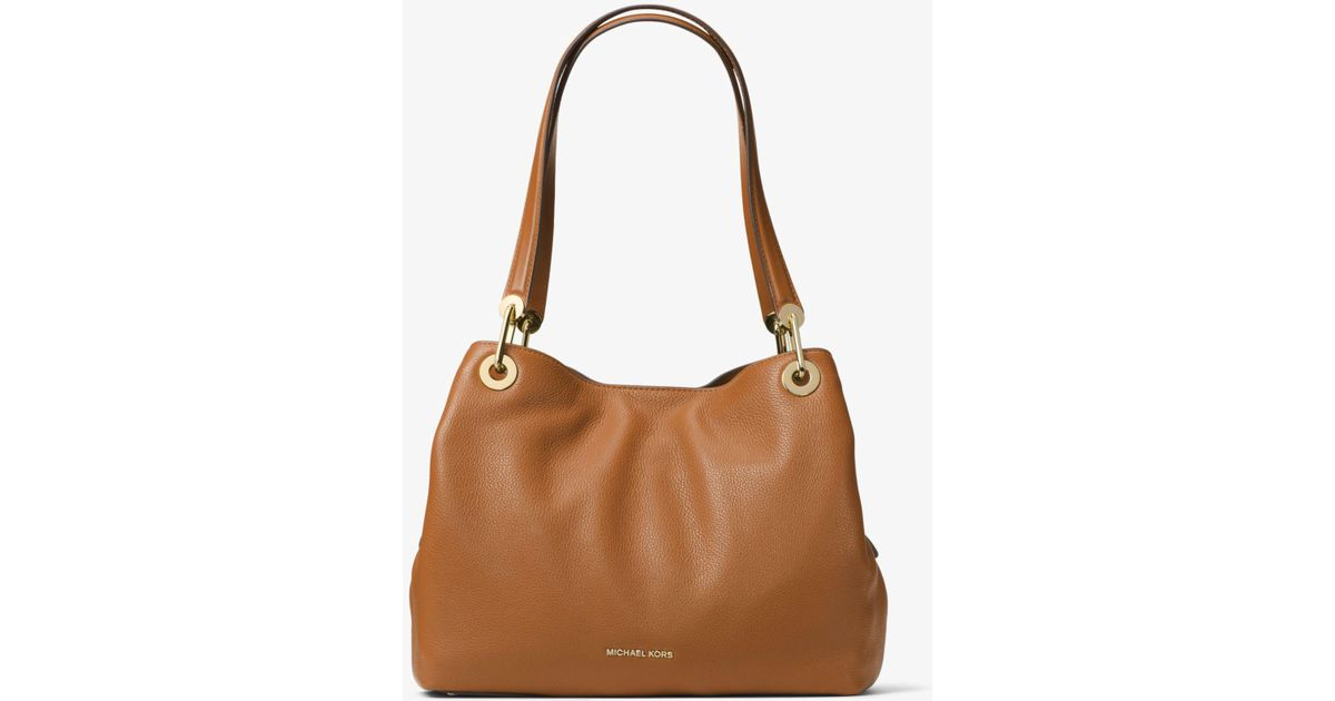 eabfeb9af4e Lyst - Michael Kors Raven Large Leather Shoulder Bag in Brown - Save 30%