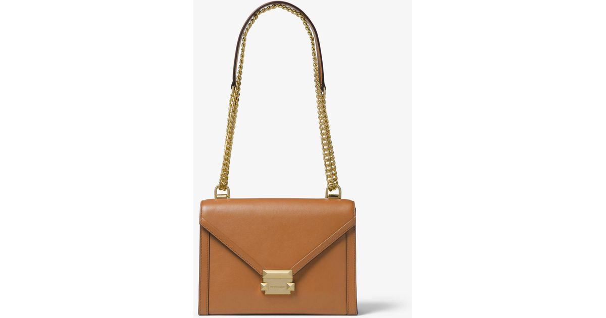 3aa5239d2192d Lyst - Michael Kors Whitney Large Leather Convertible Shoulder Bag in Brown