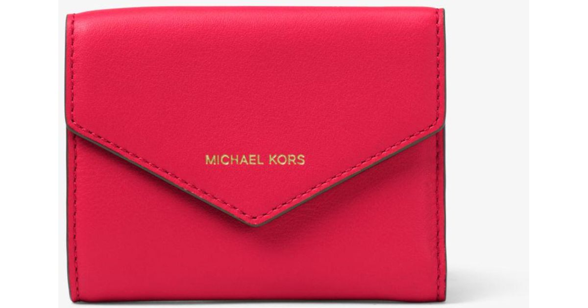 a7f566cf41d4c0 Michael Kors Small Leather Envelope Wallet in Pink - Lyst