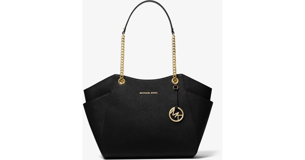 93ee05b854d67a Lyst - Michael Kors Jet Set Large Saffiano Leather Tote in Black