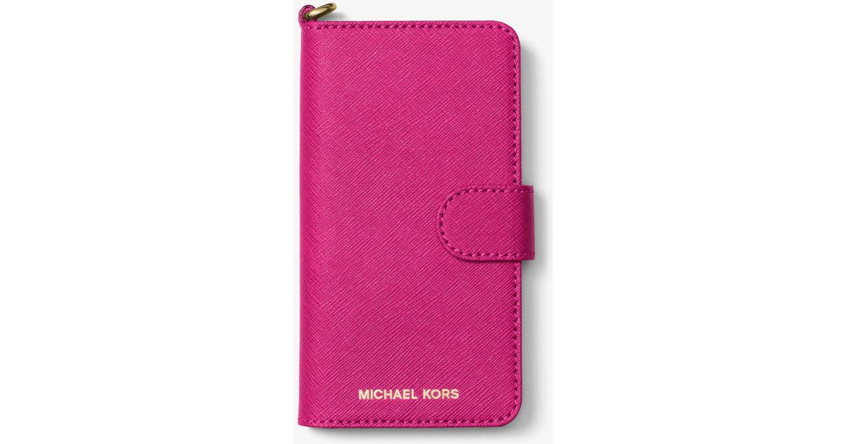 f489ebedf8bf Michael Kors Saffiano Leather Folio Phone Case For Iphone 7 in Pink - Lyst