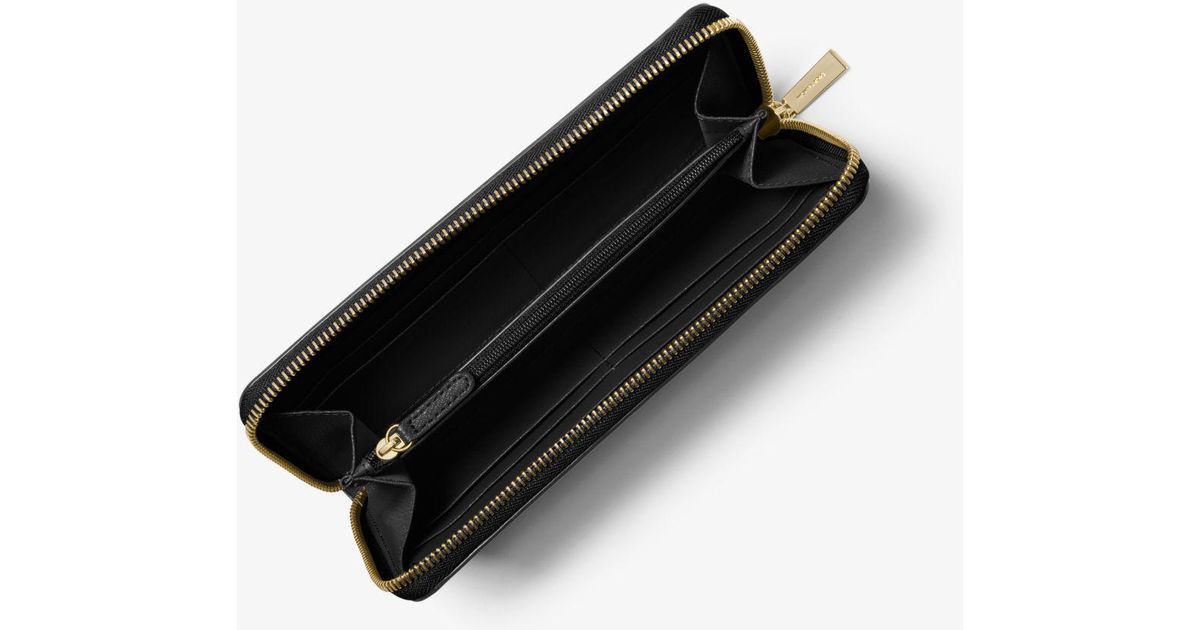 2d971cc18e8d Michael Kors Sutton Saffiano Leather Continental Wallet in Black - Lyst