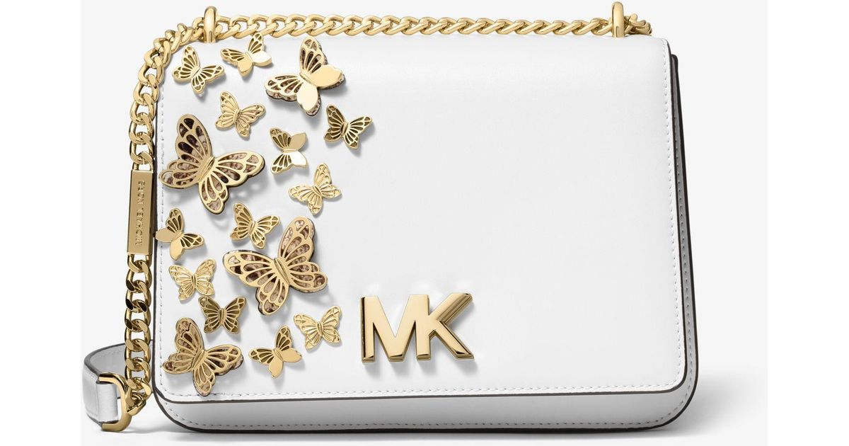 5bc5c08fe41d82 MICHAEL Michael Kors Mott Large Butterfly Embellished Leather Crossbody Bag  in White - Save 6% - Lyst