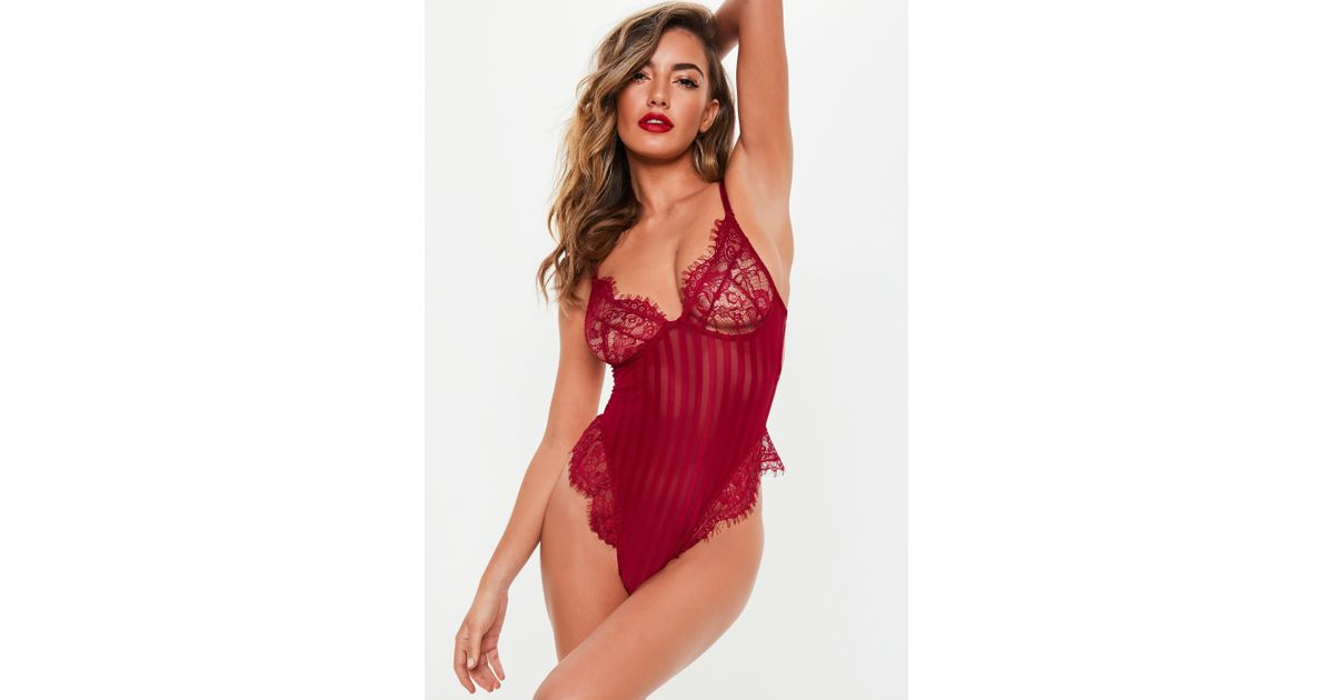 6e5438e200e26 Lyst - Missguided Burgundy Lace Stripe Detail Cupped Bodysuit in Red