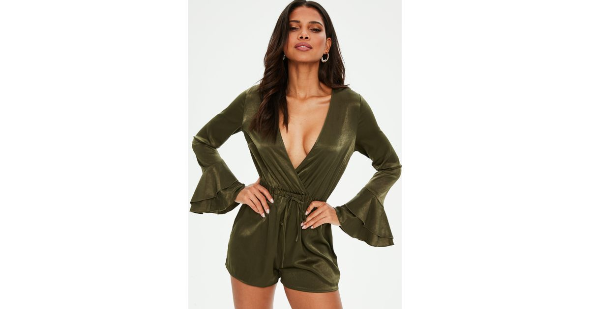 1e4d5f7059a Lyst - Missguided Khaki Satin Flare Sleeve Playsuit in Green
