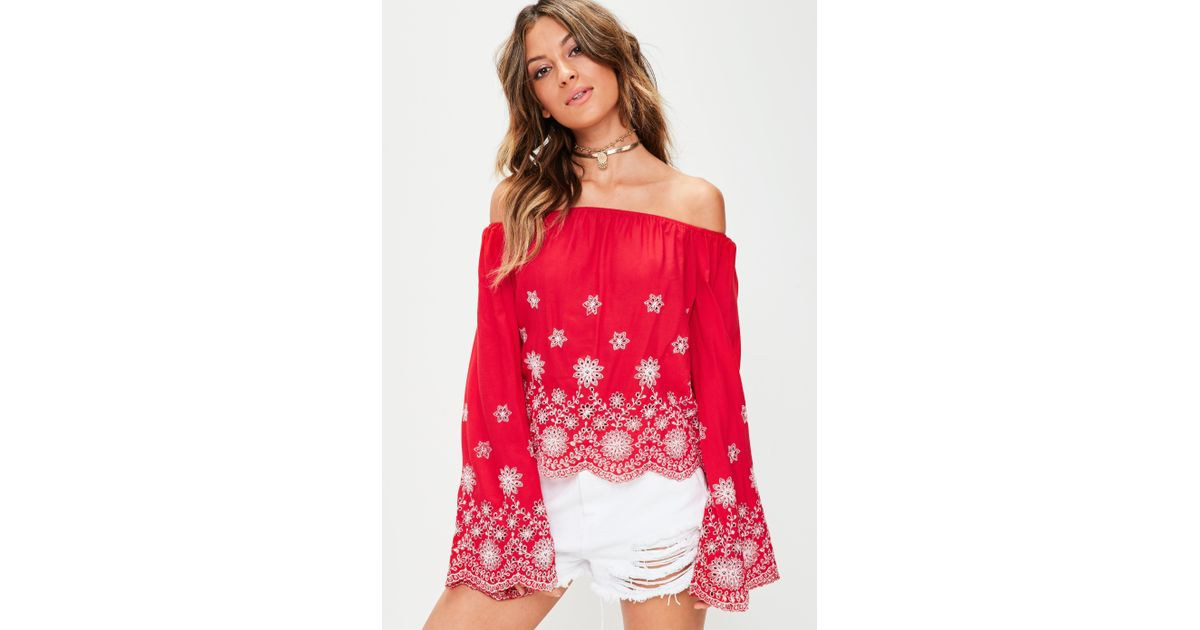 32829b5b31bab2 Missguided Red Broderie Anglais Bardot Top in Red - Lyst