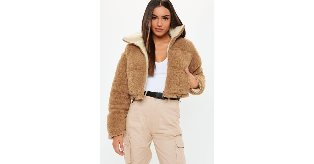 20ac09efa61582 Lyst - Missguided Tan Reversible Crop Borg Puffer Jacket