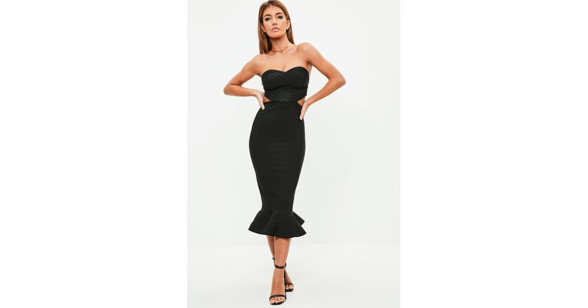 faf0635d5a Lyst - Missguided Premium Black Bandage Cut Out Midi Dress in Black