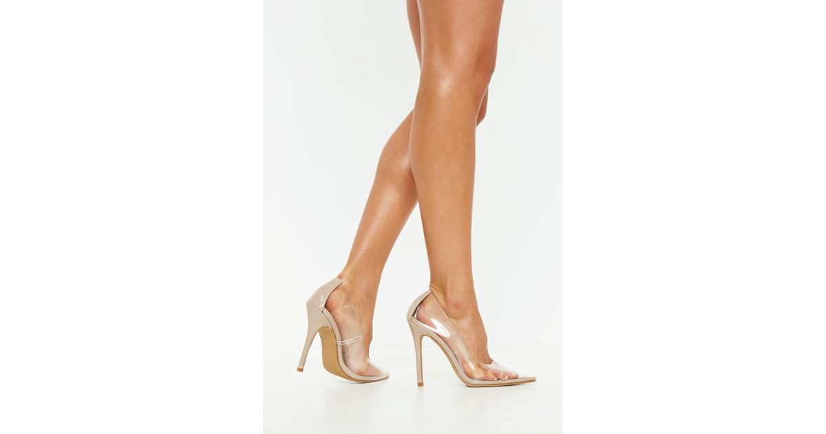 935cb267f1e Missguided - Natural Nude Clear Pointed Pumps - Lyst