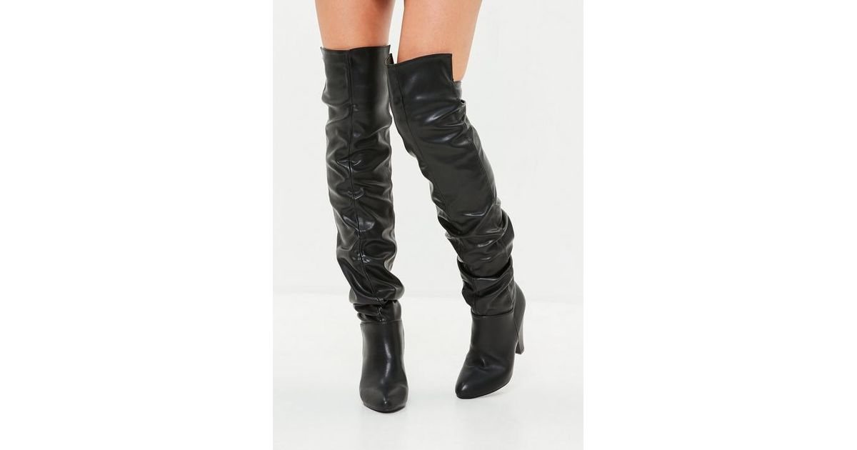 7977ed193a2 Missguided - Black Faux Leather Ruched Over The Knee Boots - Lyst