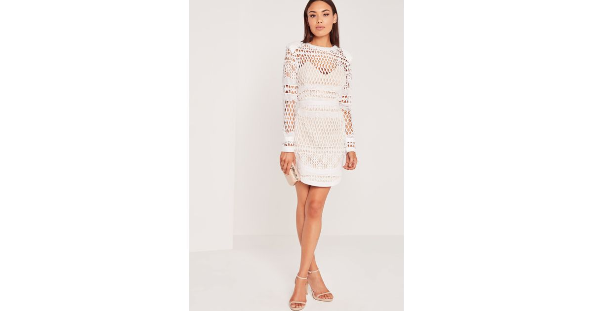 acd18844b36 Lipsy Love Michelle Keegan Petite Lace Floral Skater Dress   Lyst  missguided long sleeve lace bodycon