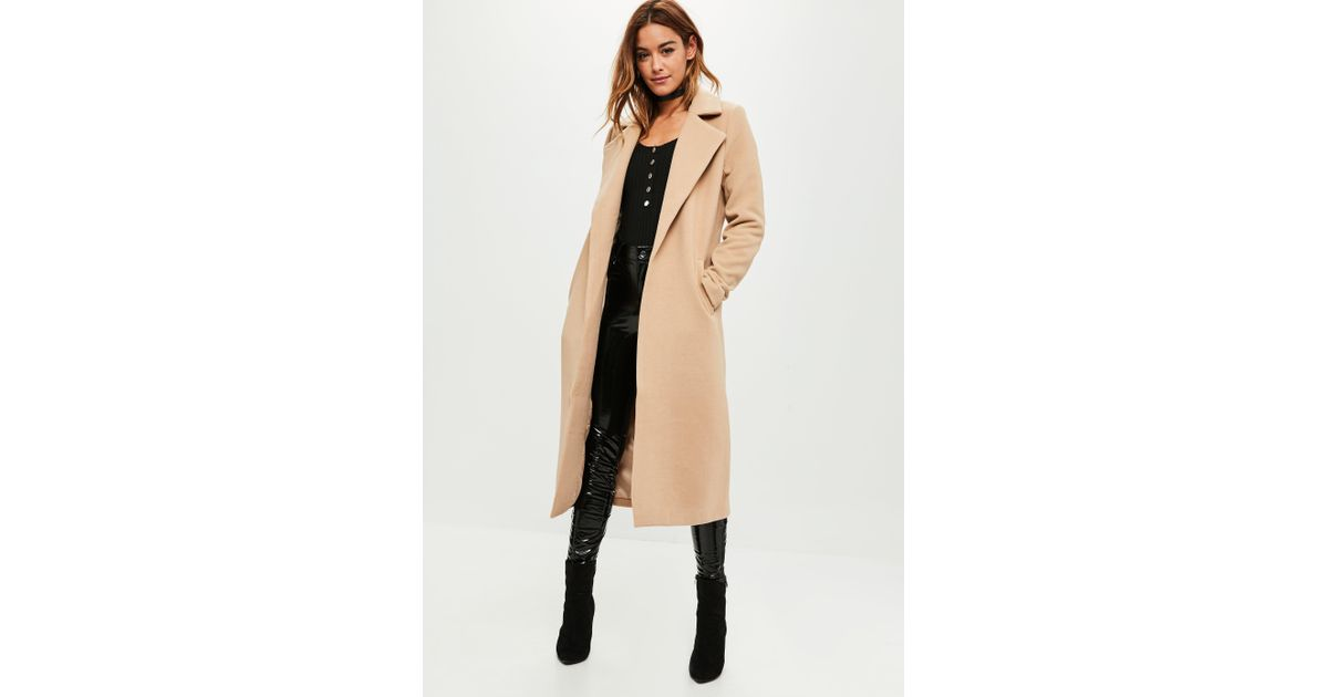 57b7c0595d13 Lyst - Missguided Tall Camel Longline Faux Wool Duster Coat in Natural