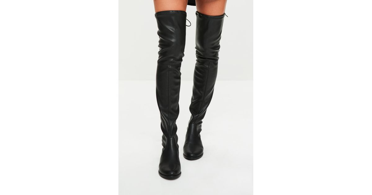 b9548b1ab64 Lyst - Missguided Black Faux Leather Flat Over The Knee Boots in Black