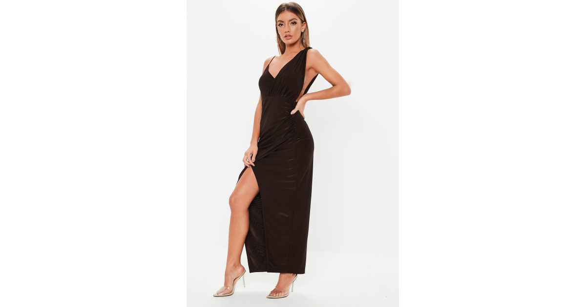 e4aab5f2eb Lyst - Missguided Chocolate Brown Slinky Asymmetric Maxi Dress in Brown